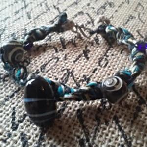 Blue Spiral Macrame Hemp Bracelet
