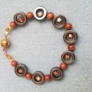 copper goldstone hemalyke bead bracelet