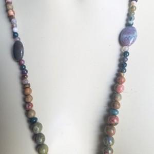 Handmade Agate Jasper Ukanite Green Moss Matinee Necklace Bracelet Earrings Set