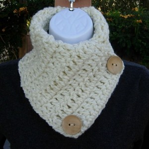 NECK WARMER SCARF Solid Ivory Off White  Light Cream, Natural Wood Buttons Extra Soft Crochet Knit Buttoned Cowl Scarflette..Ready to Ship in 3 Days