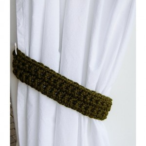 Curtain Tie Backs Set, One Pair of Dark Solid Olive Green Tiebacks, Color Options, Drapery Drapes Holders, Thick Crochet Ties, Standard and Custom Sizes