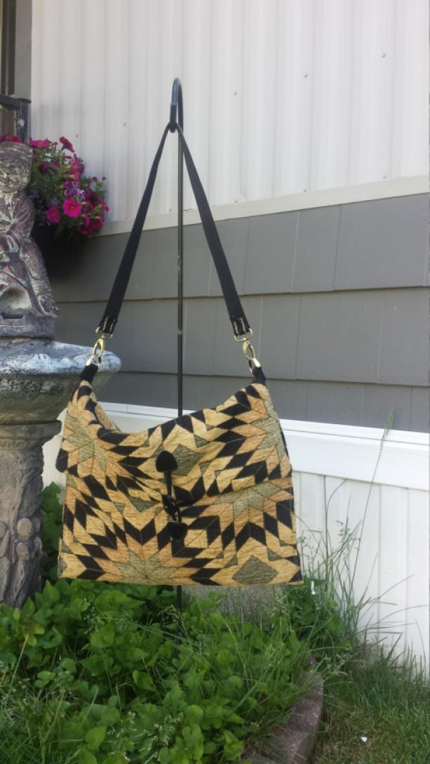 Gold and Black OoaK Tapestry/Carpet Shoulder bag