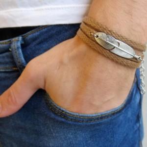 Men's Bracelet - Men Feather Bracelet - Men's Vegan Bracelet - Men's Jewelry - Men's Gift - Boyfriend Gift - Husband Gift - Gift For Dad