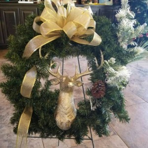 Christmas Holiday Champagne Deer Wreath Indoor Outdoor Door Decor
