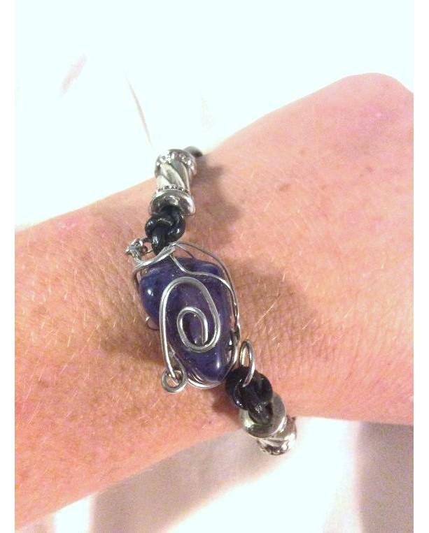 Wire Wrapped Polished Stone Bracelet, Leather Bracelet