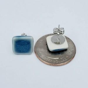 Dusty blue diamond studs