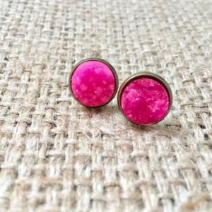 Hot Pink Druzy Studs, Faux Druzy Earrings, Pink Gemstone Studs, Matte Pink Studs, Neon Druzy Studs, Pink Druzy Earrings
