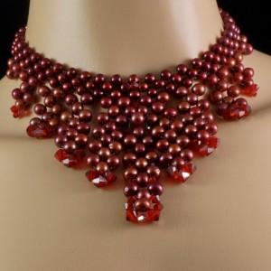Red freshwater pearl + Siam satin Swarovski crystal beaded fringe choker + necklace in 1. freshwater pearl + crystal choker. pearl choker