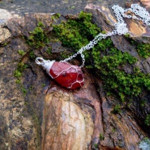 Wire Wrapped Fire Agate Carnelian, Pacific Northwest Found, Blood Red Agate, Natural Raw Stone, Rock Jewelry, Rock and Minerals. Ooak