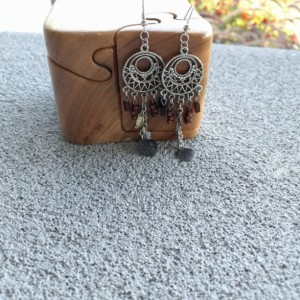 Dreamcatcher Style Earrings, Chandelier Feather Charm Earrings, American Southwest Earrings, Earth Tone Drop Earrings by Cumulus Luci