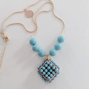 Bead woven Jade Swarovski Pearl Pendant necklace