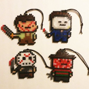 Set of 4-1990s Scary Movie Perler Ornaments/Magnets- Jason- Michael Myers- Leather Face- Freddy Kruger