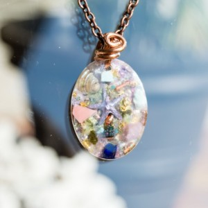 "Orgonoite® ""Star Born"" Pendant with Pink Opal, Epidote, Pink Tourmaline - Orgone Necklace - 528hz"