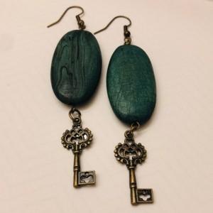 Wood and Key Earrings