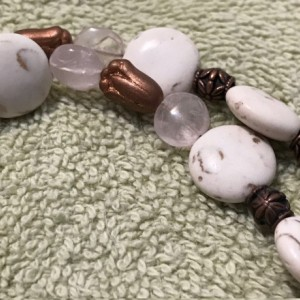 """Roses and Stones handmade beaded necklace 23"""" long"""