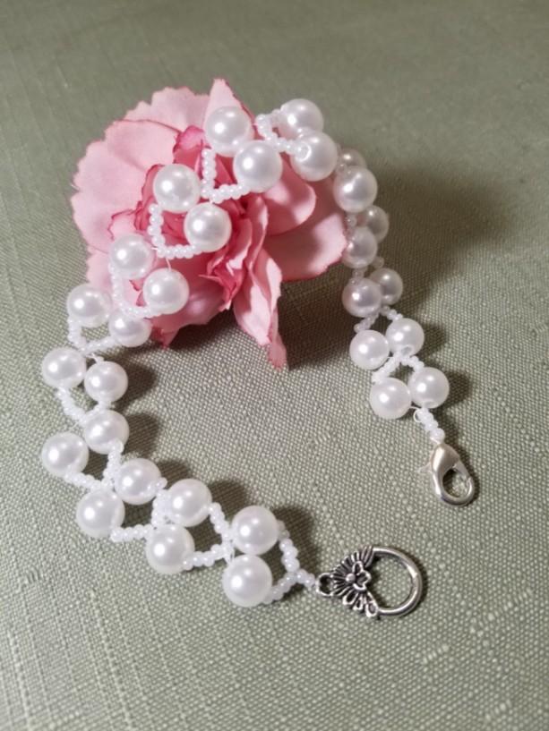 "Beaded Bracelet Wedding White Pearl LIGHTWEIGHT Beads 9"" Jewelry"