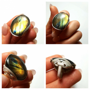 Labradorite Cocktail Ring, Size 7 - 8, Big Oval Rainbow