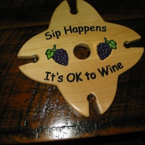 Wine Caddy - 4 glass holder - Sip Happens It's OK To Wine