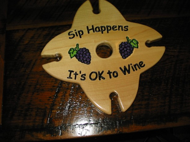 Wine Caddy - 4 glass holder - Sip Happens It's OK To Wine