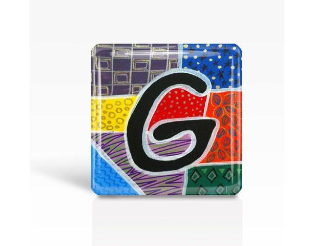 "ALPHABET Letter ""G"" - Glass MAGNET By Artist A.V.Apostle- 2""x 2"""