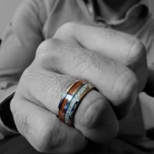 8mm Mens Koa Wood Inlay Tungsten Carbine Wedding Bands
