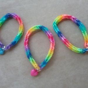 Rainbow Trio of Bracelets with Heart Pendants