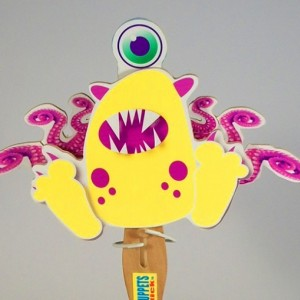 Wooden Puppet- Yellow Monster