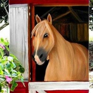 Horse in barn oil painting