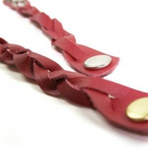 Red Leather Bracelet - Mystery Braid - Multi-Strand - Adjustable Size - Men's / Women's