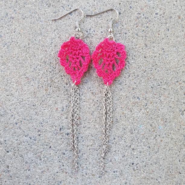Crocheted Earrings Hot Pink
