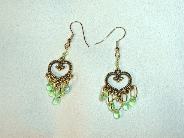 Earrings of Heart Shaped Antique Gold and Green AB Teardrop Dangles