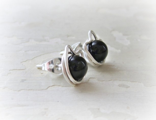 Black Cat Stud Earrings Sterling Silver Posts Pet Lover Gift Kitty
