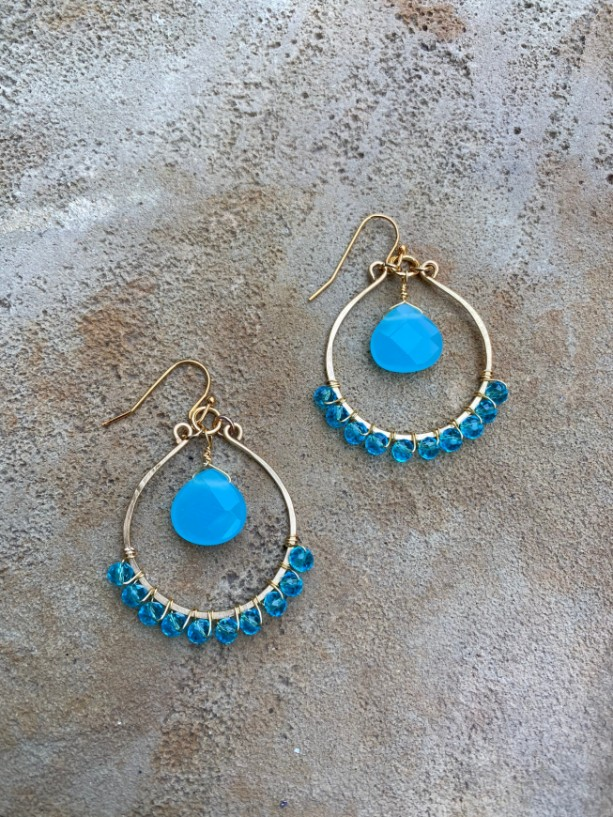Aqua tear drop earrings