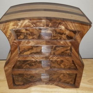 Bandsaw box made from claro walnut, walnut burl veneer, pine,and plywood