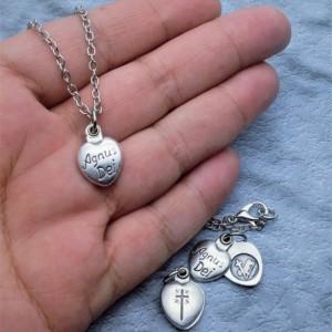 Personalized Sliding Locket Style Agnus Dei Necklace. Lamb of God Necklace