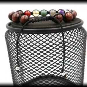 Teak Wood Chakra Healing Bracelet for Balancing the Chakras