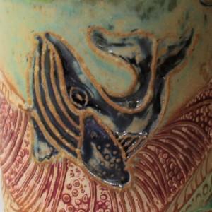 Whale Pottery Mug Coffee Cup Handmade Stoneware Tableware Microwave and Dishwasher Safe