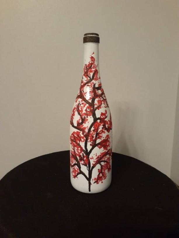 Upcycled Wine/Upcycled Wine Bottle/Wine Bottle/Centerpiece/Wine/Wine Decor/Mantle/Vase/Bottle/Cherry Blossom/Painted Bottle