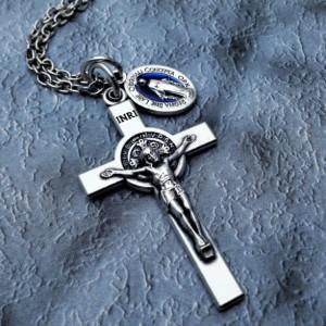 Personalized Saint Benedict Crucifix Necklace