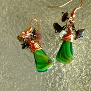 Wire Wrapped Dangle Green Watermelon Quartz cluster earrings