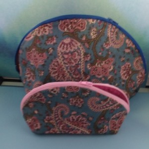 Flat Bottom Makeup bag, Cosmetic bag, Pencil case, Zipped pouch, Lined bag