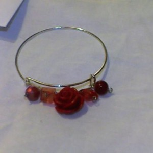 Homemade Red Rose Jewelry Set necklace, ring, earrings, bangle bracelet