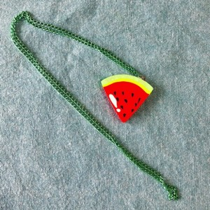 Upcycled Watermelon Fruit Slice Toy Eraser Necklace on Green Chain - Gift for Her