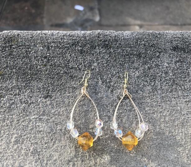 Amber and White Oval Hoop Earrings