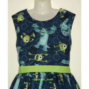 NEW Handmade Disney Pixar Monsters University Blue Dress Sz 12M-14Yrs