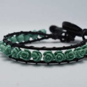 Turquoise Flower Black Leather Wrap