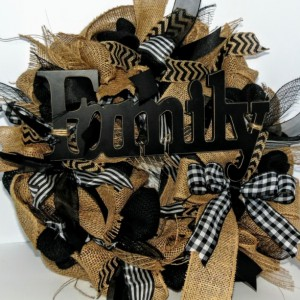 Year around Door Decor, Black and Tan Burlap & Ribbon Wreath