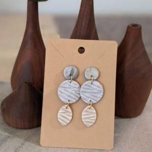 Dangle Boho Earrings | Geometric dangle earrings | Neutral colors boho earrings - gift for bridesmaids white & grey earrings