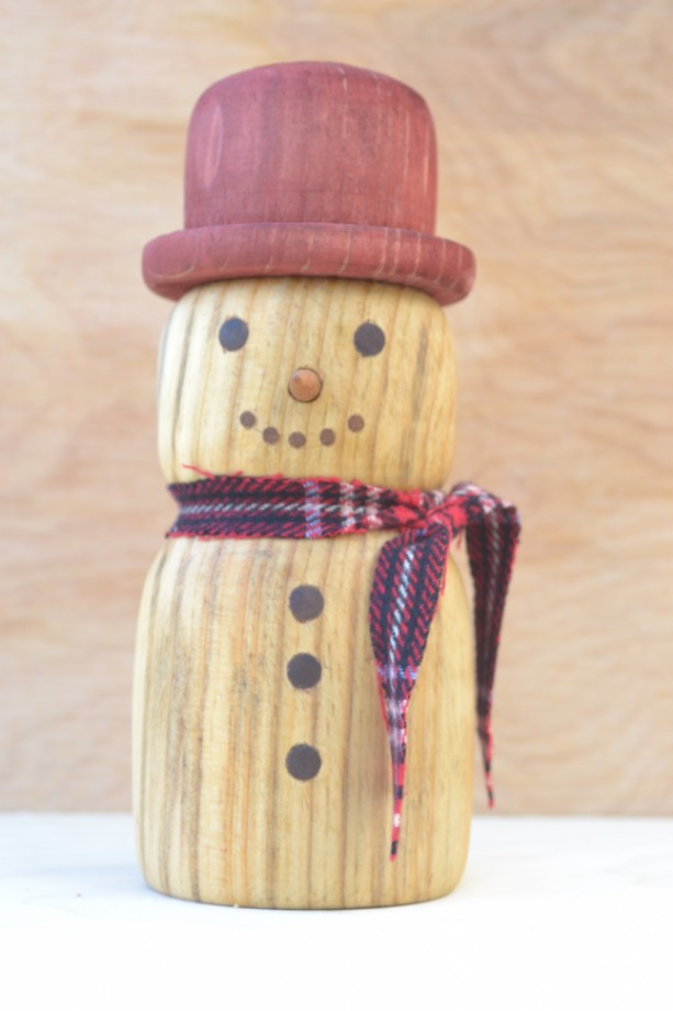 Solid Wood Snowman!