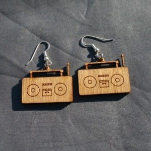 Wooden Funky Old School Stereo Dangle Earrings - FREE US SHIPPING